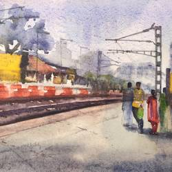 railway platform 1, 15 x 11 inch, krishna  mondal ,15x11inch,handmade paper,paintings,cityscape paintings,paintings for dining room,paintings for living room,paintings for bedroom,paintings for office,paintings for bathroom,paintings for kids room,paintings for hotel,paintings for kitchen,paintings for school,paintings for dining room,paintings for living room,paintings for bedroom,paintings for office,paintings for bathroom,paintings for kids room,paintings for hotel,paintings for kitchen,paintings for school,watercolor,GAL03095443488