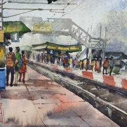 railway platform 2, 15 x 11 inch, krishna  mondal ,15x11inch,handmade paper,paintings,cityscape paintings,paintings for dining room,paintings for living room,paintings for bedroom,paintings for office,paintings for bathroom,paintings for kids room,paintings for hotel,paintings for kitchen,paintings for school,paintings for hospital,watercolor,GAL03095443489