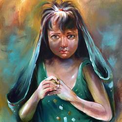 penury girl 2, 24 x 36 inch, bijendra  pratap ,figurative paintings,paintings for living room,vertical,canvas,acrylic color,24x36inch,GAL04534349