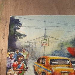 yellow taxi, kolkata, 11 x 15 inch, krishna  mondal ,11x15inch,handmade paper,paintings,cityscape paintings,paintings for dining room,paintings for living room,paintings for bedroom,paintings for office,paintings for bathroom,paintings for kids room,paintings for hotel,paintings for kitchen,paintings for school,paintings for hospital,watercolor,GAL03095443493