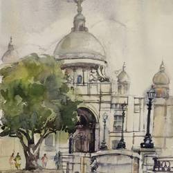 victoria memorial,kolk6, 22 x 30 inch, krishna  mondal ,22x30inch,handmade paper,paintings,cityscape paintings,paintings for dining room,paintings for living room,paintings for bedroom,paintings for office,paintings for bathroom,paintings for kids room,paintings for hotel,paintings for kitchen,paintings for school,paintings for hospital,watercolor,GAL03095443497