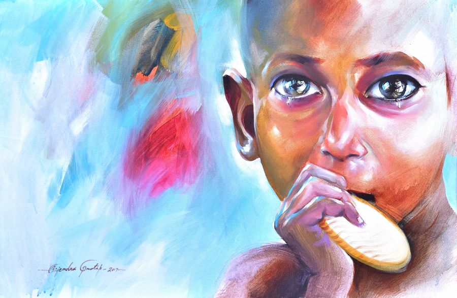 penury boy, 36 x 24 inch, bijendra  pratap ,figurative paintings,paintings for living room,horizontal,paintings for school,canvas,acrylic color,36x24inch,GAL04534350