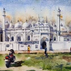 masjid , murshidabad, 15 x 11 inch, krishna  mondal ,15x11inch,handmade paper,paintings,cityscape paintings,multi piece paintings,expressionism paintings,impressionist paintings,photorealism paintings,photorealism,paintings for dining room,paintings for living room,paintings for bedroom,paintings for office,paintings for bathroom,paintings for kids room,paintings for hotel,paintings for kitchen,paintings for dining room,paintings for living room,paintings for bedroom,paintings for office,paintings for bathroom,paintings for kids room,paintings for hotel,paintings for kitchen,watercolor,GAL03095443500