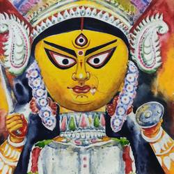 ma durga painting., 11 x 15 inch, krishna  mondal ,11x15inch,handmade paper,paintings,cityscape paintings,portrait paintings,expressionism paintings,impressionist paintings,photorealism paintings,photorealism,portraiture,paintings for dining room,paintings for living room,paintings for bedroom,paintings for office,paintings for bathroom,paintings for kids room,paintings for hotel,paintings for kitchen,paintings for hospital,watercolor,GAL03095443501