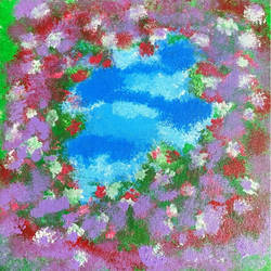 blooming flowers , 18 x 18 inch, ishita gs,18x18inch,canvas board,paintings,nature paintings | scenery paintings,acrylic color,fabric,pastel color,GAL03104843502