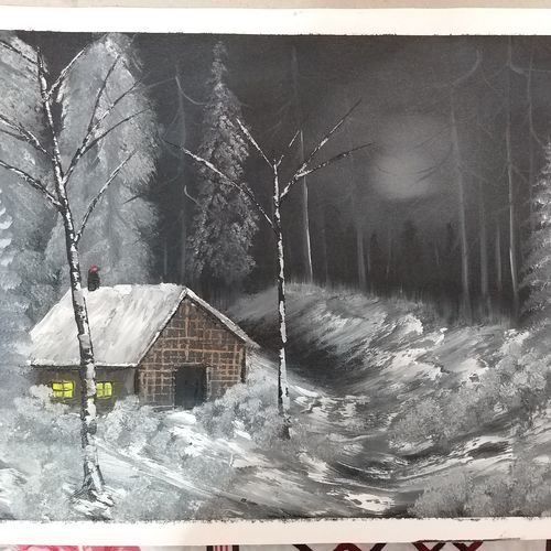 cold winter night, 18 x 24 inch, dr bhupinder singh,18x24inch,canvas,paintings,landscape paintings,oil color,GAL02986243510