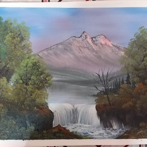 waterfall , 18 x 24 inch, dr bhupinder singh,18x24inch,canvas,paintings,landscape paintings,oil color,GAL02986243511