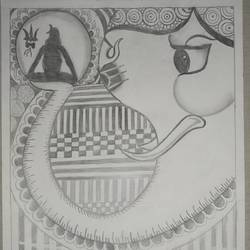 ganesha with lord shiva, 12 x 17 inch, rishitha lella,12x17inch,thick paper,paintings for living room,pop art drawings,paintings for living room,graphite pencil,paper,GAL03107643513