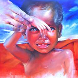 penury child , 48 x 36 inch, bijendra  pratap ,conceptual paintings,paintings for dining room,paintings for office,horizontal,canvas,acrylic color,48x36inch,GAL04534352