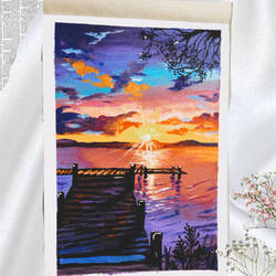 aesthetically pleasing sunsets, 10 x 12 inch, ganga  v menon ,10x12inch,fabriano sheet,paintings,landscape paintings,acrylic color,GAL03108743531