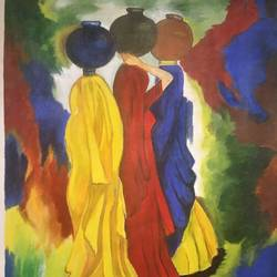 village women, 18 x 25 inch, manjula mair,18x25inch,canvas,modern art paintings,paintings for living room,paintings for living room,acrylic color,GAL03022543535