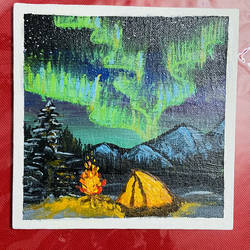 northern lights or the aurora , 4 x 4 inch, ganga  v menon ,4x4inch,canvas,landscape paintings,nature paintings | scenery paintings,acrylic color,GAL03108743536