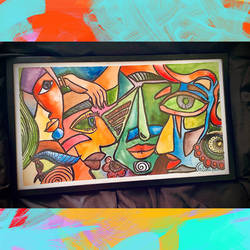 modern at on cubism, 22 x 13 inch, ganga  v menon ,22x13inch,brustro watercolor paper,abstract paintings,figurative paintings,modern art paintings,conceptual paintings,portrait paintings,cubism paintings,expressionism paintings,acrylic color,GAL03108743538