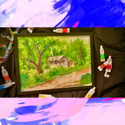 watercolour scenery of a rural household, 14 x 11 inch, ganga  v menon ,14x11inch,renaissance watercolor paper,paintings,landscape paintings,nature paintings | scenery paintings,watercolor,GAL03108743539