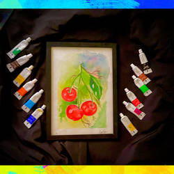 a watercolour artwork of cherries , 11 x 8 inch, ganga  v menon ,11x8inch,thick paper,landscape paintings,modern art paintings,multi piece paintings,conceptual paintings,religious paintings,still life paintings,portrait paintings,nature paintings | scenery paintings,tanjore paintings,abstract expressionism paintings,art deco paintings,dada paintings,expressionism paintings,illustration paintings,impressionist paintings,minimalist paintings,photorealism,pop art paintings,portraiture,realism paintings,acrylic color,ceramic,fabric,instant batik,mixed media,natural color,pastel color,pen color,watercolor,ball point pen,GAL03108743541