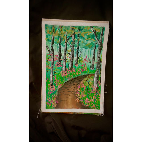 a scenery of beautiful flowers and a treea, 10 x 12 inch, ganga  v menon ,10x12inch,fabriano sheet,abstract paintings,wildlife paintings,figurative paintings,flower paintings,folk art paintings,foil paintings,cityscape paintings,landscape paintings,conceptual paintings,religious paintings,still life paintings,portrait paintings,nature paintings   scenery paintings,tanjore paintings,abstract expressionism paintings,art deco paintings,cubism paintings,impressionist paintings,acrylic color,GAL03108743546