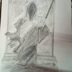 the knight, 12 x 17 inch, chandana dey,12x17inch,fabriano sheet,paintings,abstract paintings,charcoal,graphite pencil,GAL03054743547