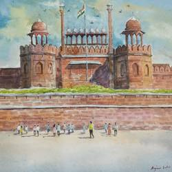 delhi red fort, 16 x 11 inch, anjan  laha,16x11inch,handmade paper,landscape paintings,impressionist paintings,watercolor,GAL02936143549