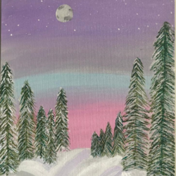 snowy night , 12 x 16 inch, ruchi chandra verma,12x16inch,canvas,paintings,landscape paintings,nature paintings | scenery paintings,paintings for living room,paintings for bedroom,paintings for kids room,acrylic color,GAL02794543550