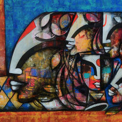 the blossoming mind 13, 66 x 30 inch, anupam  pal,66x30inch,canvas,paintings,buddha paintings,figurative paintings,flower paintings,paintings for dining room,paintings for living room,paintings for bedroom,paintings for office,paintings for bathroom,paintings for kids room,paintings for hotel,paintings for kitchen,paintings for school,paintings for hospital,acrylic color,charcoal,GAL08243557