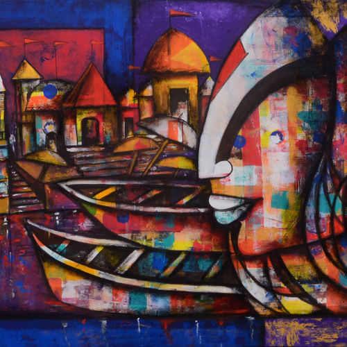 banaras ghat 4, 66 x 36 inch, anupam  pal,66x36inch,canvas,paintings,abstract paintings,buddha paintings,figurative paintings,flower paintings,landscape paintings,conceptual paintings,water fountain paintings,paintings for dining room,paintings for living room,paintings for bedroom,paintings for office,paintings for bathroom,paintings for kids room,paintings for hotel,paintings for kitchen,paintings for school,paintings for hospital,paintings for dining room,paintings for living room,paintings for bedroom,paintings for office,paintings for bathroom,paintings for kids room,paintings for hotel,paintings for kitchen,paintings for school,paintings for hospital,acrylic color,charcoal,GAL08243558