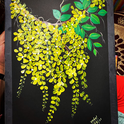 hanging flowers, 8 x 11 inch, anchal sharma,8x11inch,thick paper,paintings,flower paintings,nature paintings | scenery paintings,paintings for dining room,paintings for living room,paintings for bedroom,paintings for office,paintings for bathroom,paintings for kids room,paintings for hotel,paintings for kitchen,paintings for school,paintings for hospital,acrylic color,GAL02841543563