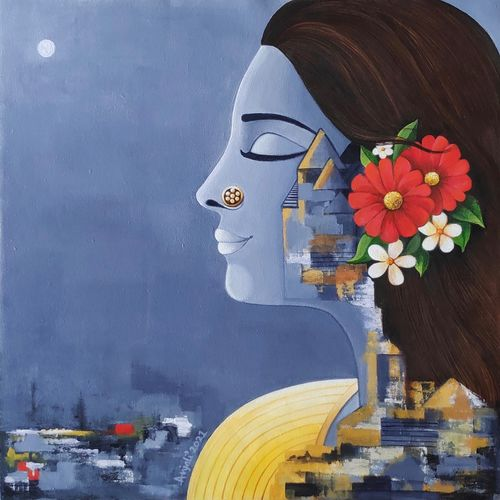 elakshi in moonlight, 20 x 20 inch, anjali  surana,20x20inch,canvas,paintings,figurative paintings,paintings for dining room,paintings for living room,paintings for bedroom,paintings for office,paintings for bathroom,paintings for kids room,paintings for hotel,paintings for kitchen,paintings for school,paintings for hospital,acrylic color,GAL03088143577