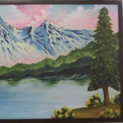 landscape of snowy mountain on the shore of lake, 20 x 14 inch, khushbu  varaiya,landscape paintings,nature paintings,paintings for living room,paintings for office,canvas,oil,20x14inch,GAL015354358Nature,environment,Beauty,scenery,greenery