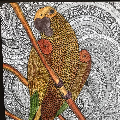 perching bird, 13 x 17 inch, mittu agarwal,13x17inch,thick paper,drawings,fine art drawings,paintings for dining room,paintings for living room,paintings for bedroom,paintings for office,paintings for kids room,paintings for hotel,paintings for kitchen,acrylic color,pen color,GAL03113043584