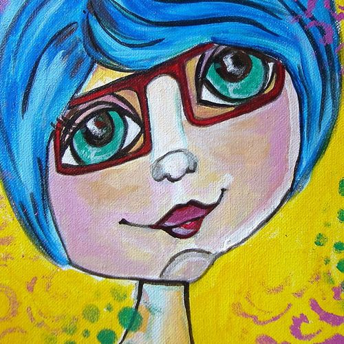 ms know it all, 8 x 8 inch, baljeet  panaich,pop art paintings,paintings for living room,canvas,acrylic color,8x8inch,GAL06084359
