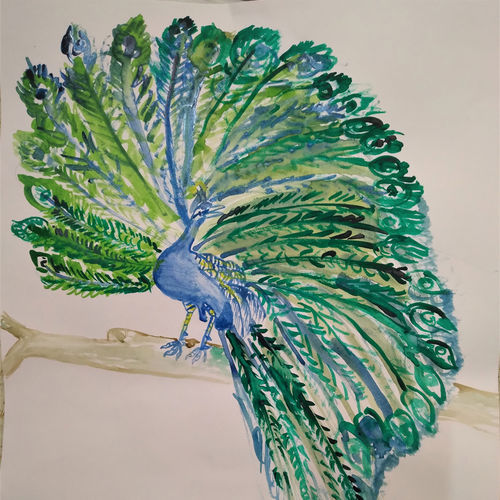 handmade water color art peacock painting., 11 x 16 inch, deep shikha,11x16inch,rice paper,paintings,gond painting.,paintings for dining room,paintings for living room,paintings for bedroom,paintings for office,paintings for hotel,acrylic color,ink color,GAL03022943591