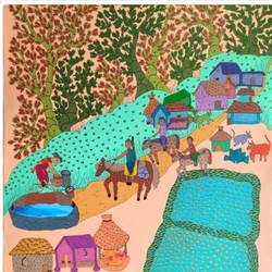 handmade gond painting master canvas art india native., 35 x 47 inch, deep shikha,35x47inch,canvas,paintings,gond painting.,paintings for dining room,paintings for living room,paintings for bedroom,paintings for office,paintings for hotel,acrylic color,ink color,GAL03022943592