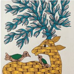 handmade master gond paper art deer family painting., 10 x 14 inch, deep shikha,10x14inch,rice paper,paintings,gond painting.,paintings for dining room,paintings for living room,paintings for bedroom,paintings for office,paintings for hotel,acrylic color,ink color,GAL03022943593