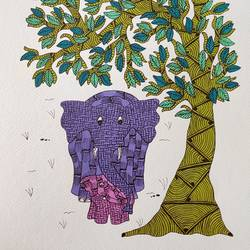 handmade gond art painting theme mother's love., 11 x 15 inch, deep shikha,11x15inch,rice paper,paintings,gond painting.,paintings for dining room,paintings for living room,paintings for bedroom,paintings for office,paintings for hotel,acrylic color,ink color,GAL03022943594