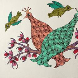 handmade peacock pair gond art painting on paper., 14 x 10 inch, deep shikha,14x10inch,rice paper,paintings,gond painting.,paintings for dining room,paintings for living room,paintings for bedroom,paintings for office,paintings for hotel,acrylic color,ink color,GAL03022943595