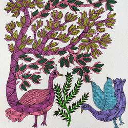 handmade masterpiece of gond art for wall decor gift., 11 x 15 inch, deep shikha,11x15inch,rice paper,paintings,gond painting.,paintings for dining room,paintings for living room,paintings for bedroom,paintings for office,paintings for hotel,acrylic color,ink color,GAL03022943596