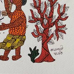 gond tribal folk art handmade paper painting., 11 x 15 inch, deep shikha,11x15inch,rice paper,paintings,gond painting.,paintings for dining room,paintings for living room,paintings for bedroom,paintings for office,paintings for hotel,acrylic color,oil color,GAL03022943597