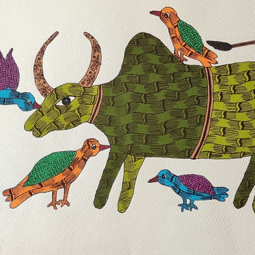 gond tribal folk art handmade paper painting., 14 x 10 inch, deep shikha,14x10inch,rice paper,paintings,gond painting.,paintings for dining room,paintings for living room,paintings for bedroom,paintings for office,paintings for hotel,acrylic color,ink color,GAL03022943598