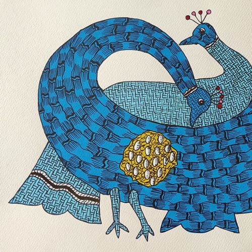 handmade peacock gond folk art paper indian master, 14 x 10 inch, deep shikha,14x10inch,rice paper,paintings,gond painting.,paintings for dining room,paintings for living room,paintings for bedroom,paintings for office,paintings for hotel,acrylic color,oil color,GAL03022943600
