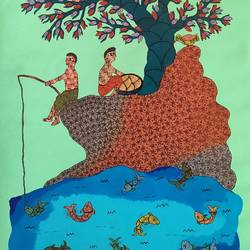 gond art canvas handmade folk painting by indian artist, 21 x 33 inch, deep shikha,21x33inch,canvas,paintings,gond painting.,paintings for dining room,paintings for living room,paintings for bedroom,paintings for office,paintings for hotel,acrylic color,ink color,GAL03022943603