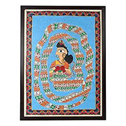 wall art madhubani painting size 24.8 inch x 32.8 inch framed to hang, 24 x 32 inch, indeasia  srijan,24x32inch,rice paper,madhubani paintings | madhubani art,paintings for dining room,paintings for living room,paintings for bedroom,paintings for office,paintings for hotel,paintings for dining room,paintings for living room,paintings for bedroom,paintings for office,paintings for hotel,acrylic color,ink color,GAL03022943607