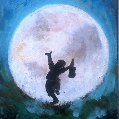 man on the moon, 10 x 12 inch, baljeet  panaich,surrealist paintings,paintings for living room,canvas,acrylic color,10x12inch,GAL06084361