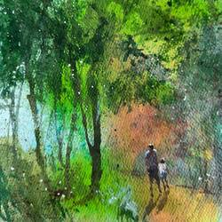 evening walk, 5 x 7 inch, rajendta mehta,5x7inch,thick paper,paintings,landscape paintings,watercolor,GAL03116043611