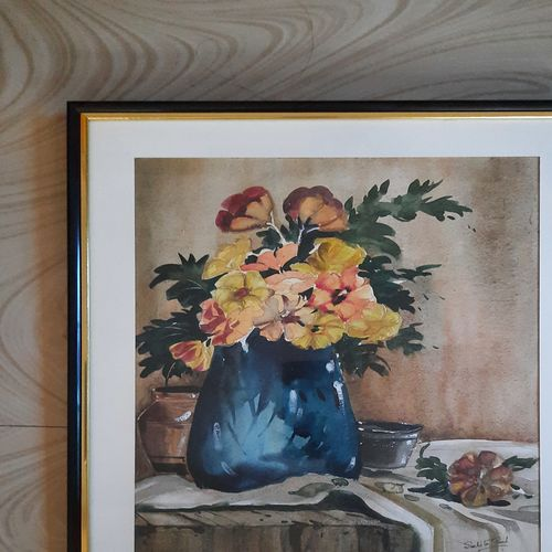 blue vase on the table, 14 x 17 inch, suchita  paul,14x17inch,thick paper,flower paintings,watercolor,GAL03116143613