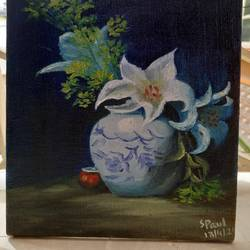 the porcelin vase, 6 x 8 inch, suchita  paul,6x8inch,canvas board,paintings,flower paintings,oil color,GAL03116143616