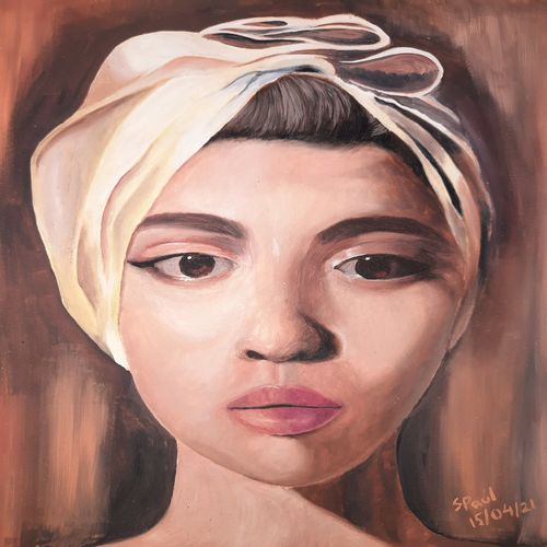 lady with the turban, 8 x 10 inch, suchita  paul,8x10inch,thick paper,paintings,portrait paintings,photorealism,portraiture,oil color,GAL03116143617