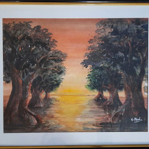 sunset at the mangrove, 17 x 14 inch, suchita  paul,17x14inch,thick paper,paintings,landscape paintings,watercolor,GAL03116143621