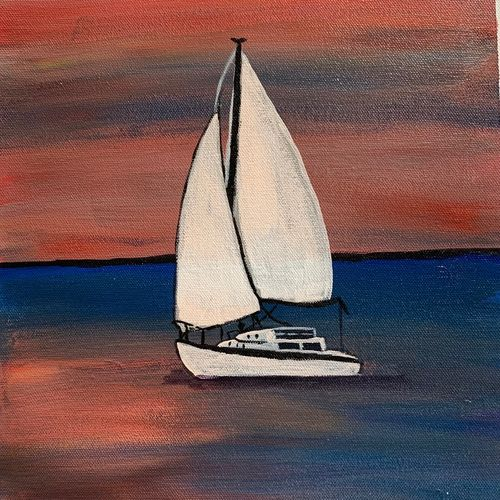 sailing into the sunset, 13 x 16 inch, madhu tiwary,13x16inch,canvas,paintings,nature paintings   scenery paintings,paintings for dining room,paintings for living room,paintings for bedroom,paintings for office,paintings for kids room,paintings for hotel,paintings for school,paintings for hospital,acrylic color,GAL03109743623