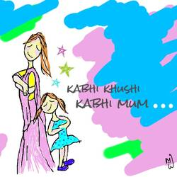 kabhi khushi kabhi mum, 9 x 11 inch, baljeet  panaich,illustration drawings,paintings for bedroom,thick paper,ink color,9x11inch,GAL06084363