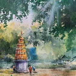vithal temple , 10 x 14 inch, rajendra mehta,10x14inch,handmade paper,paintings,landscape paintings,watercolor,GAL03116043632